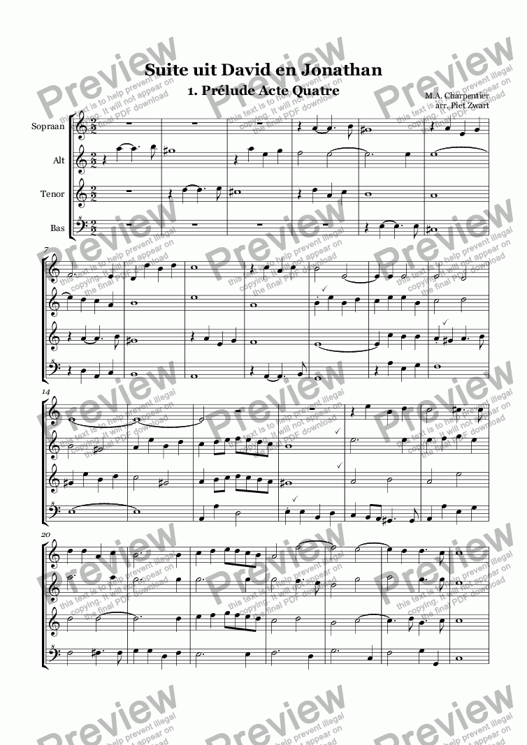 page one of Suite from David and Jonathan (Charpentier)