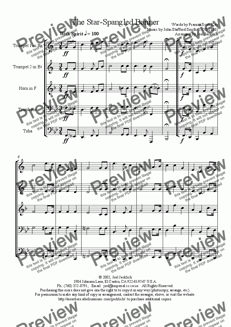 page one of The Star Spangled Banner (Bb) for Brass Quintet