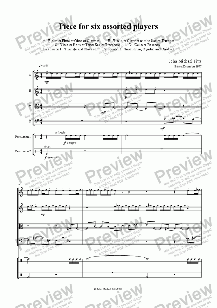 page one of Piece 4 Six (string quartet & 2 percussion) [1997]