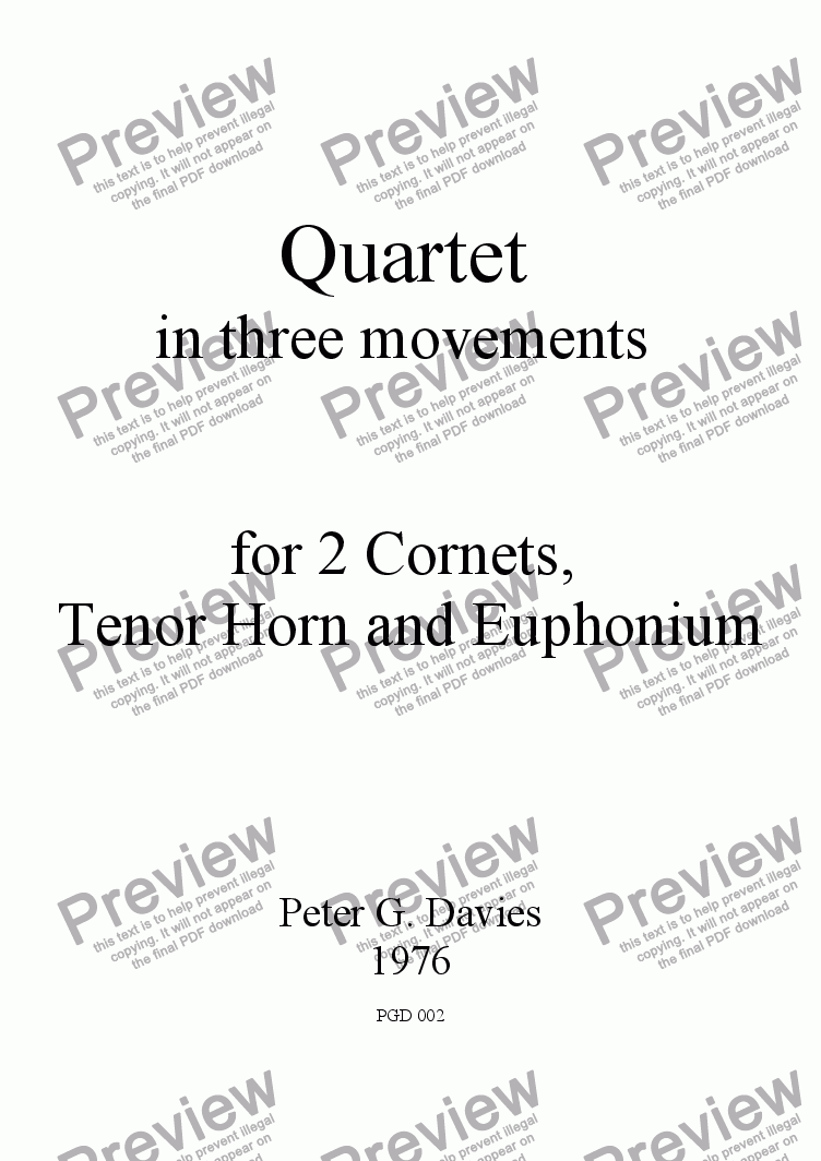 page one of Brass Quartet for 2 Cornets, Tenor Horn and Euphonium