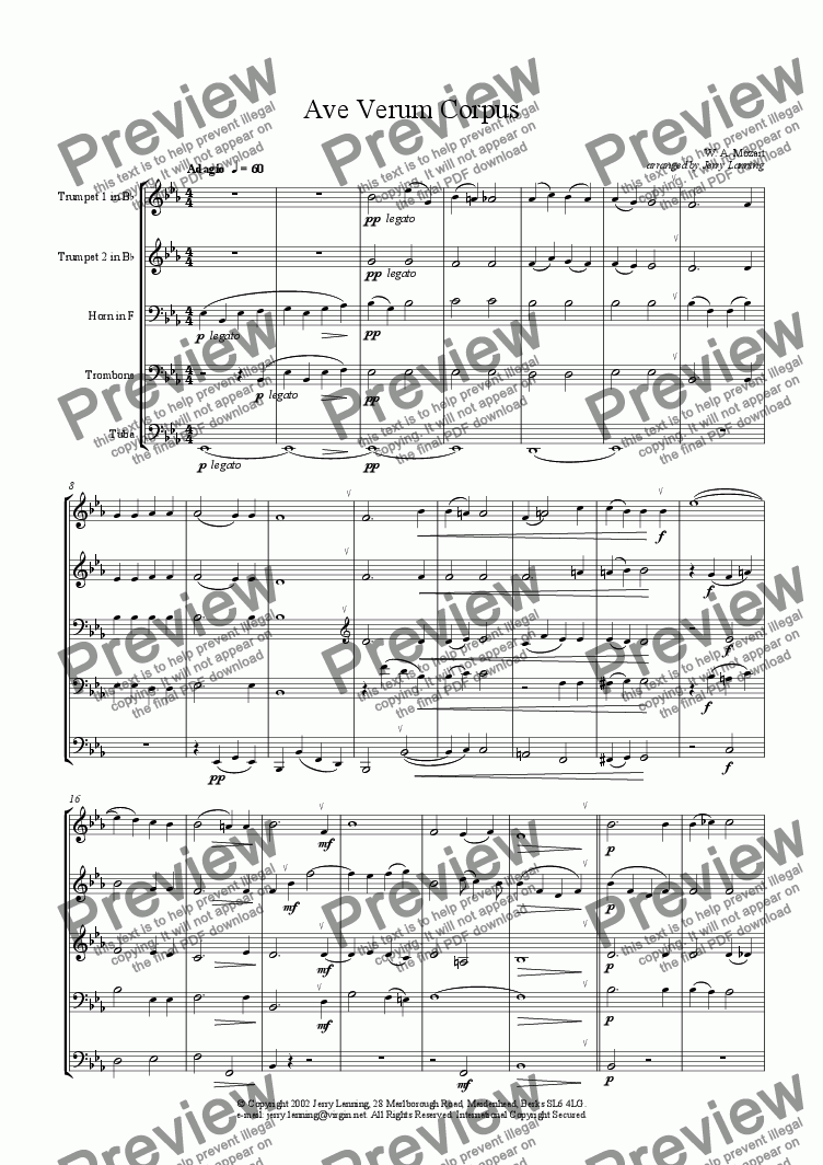 page one of Ave Verum Corpus - Mozart (brass quintet)ASALTTEXT