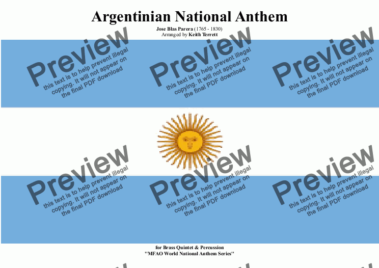 page one of Argentinian National Anthem for Brass Quintet (World National Anthem Series)
