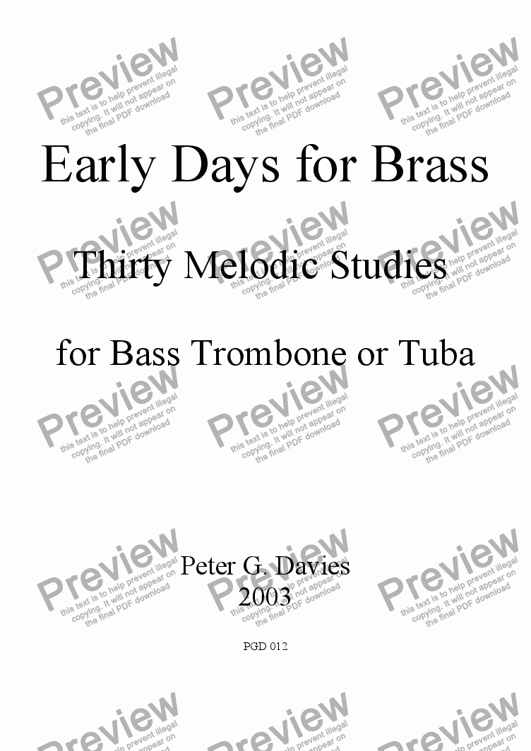 page one of Early Days for Brass for Bass Trombone or Tuba