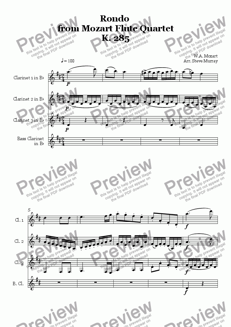 page one of Rondo from Flute Quartet K.285 (For 4 Clarinets)