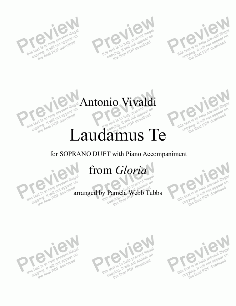 "page one of Laudamus Te (VIVALDI) from ""Gloria"" [RV589], vocal duet for two treble (Soprano) voices with Piano accompaniment, arr. by Pamela Webb Tubbs"