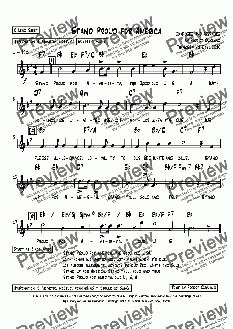 page one of Stand Proud for America, lead sheet with lyrics
