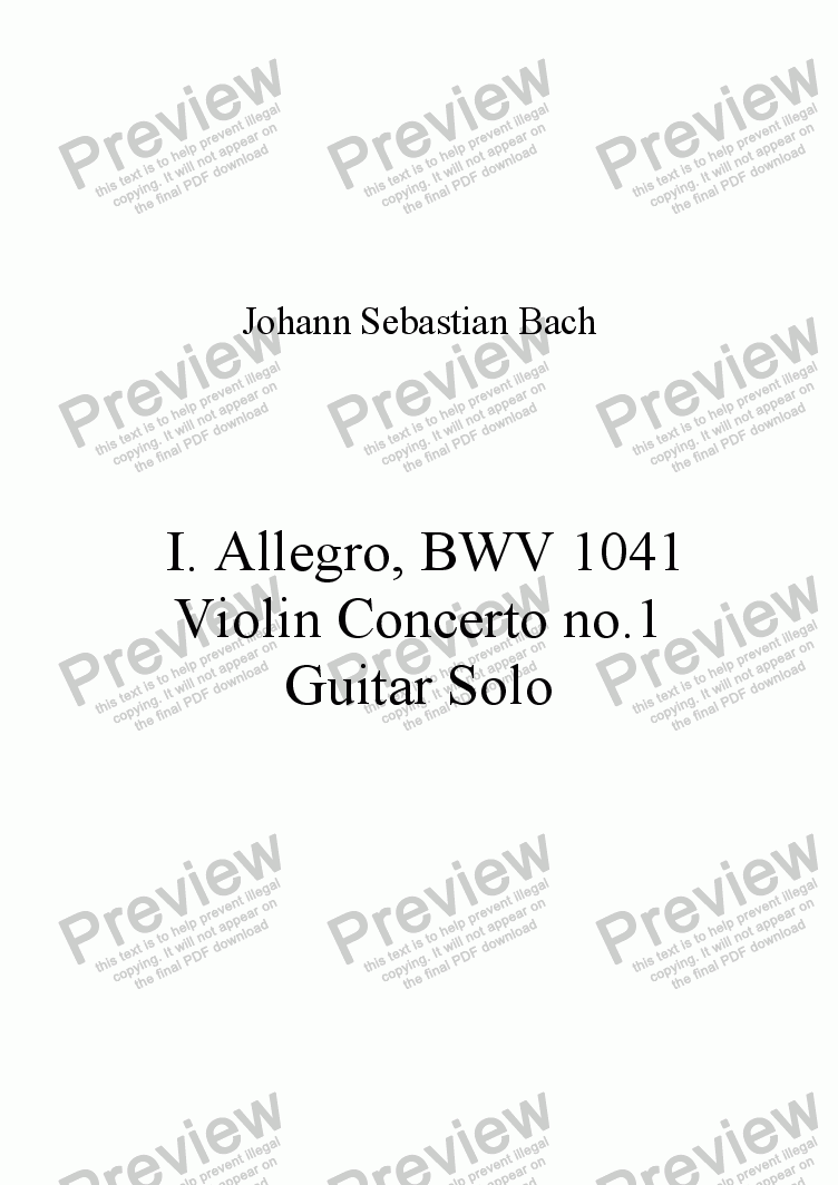 page one of BWV 1041, I Allegro Moderato for Solo Guitar