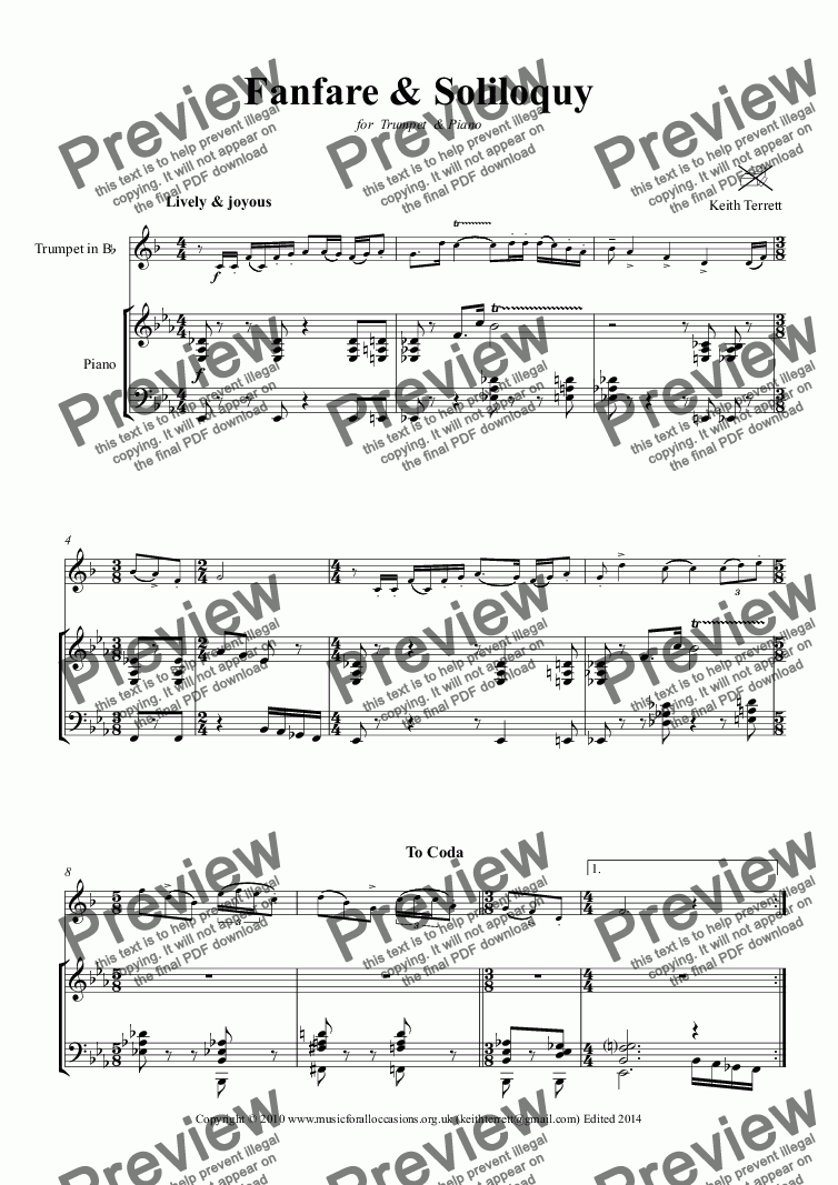 page one of Fanfare & Soliloquy for Bb Trumpet & Piano
