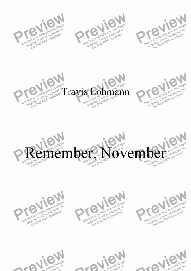 page one of Remember, November