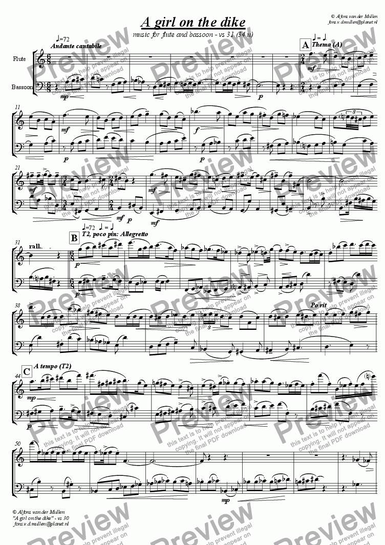 page one of A girl on the dike: for flute and bassoon
