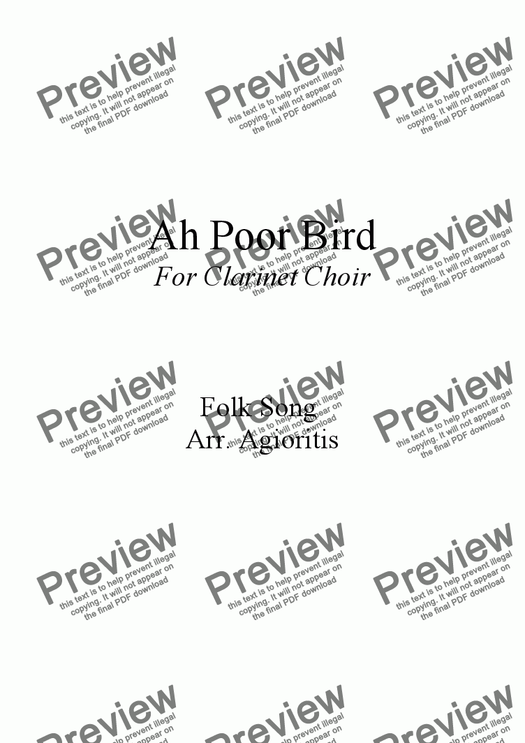 page one of Ah Poor Bird - for Clarinet Choir