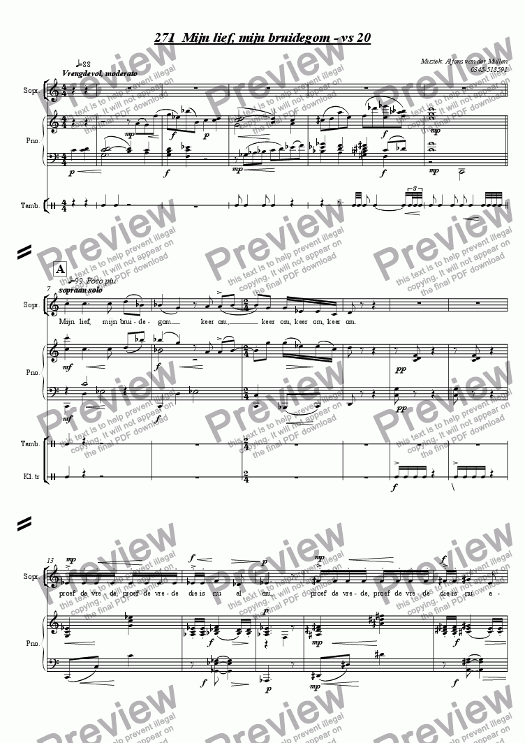page one of My love, my bridegroom: for soprano, choir, piano and percussion