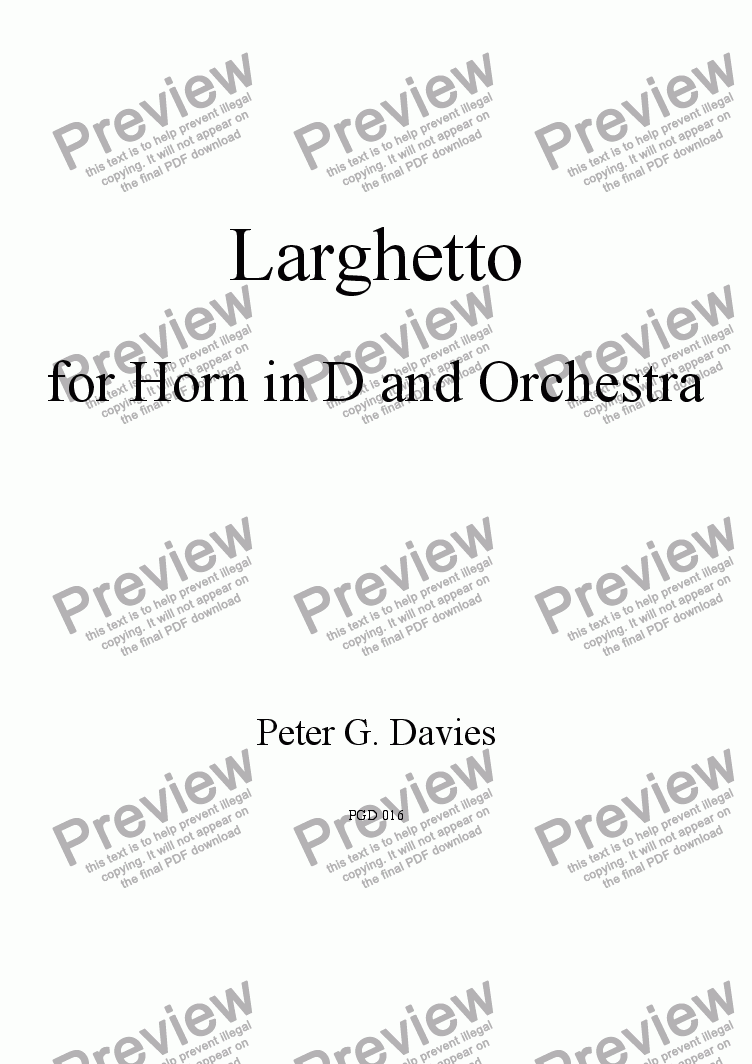 page one of Larghetto for Horn in D (or F) and Orchestra
