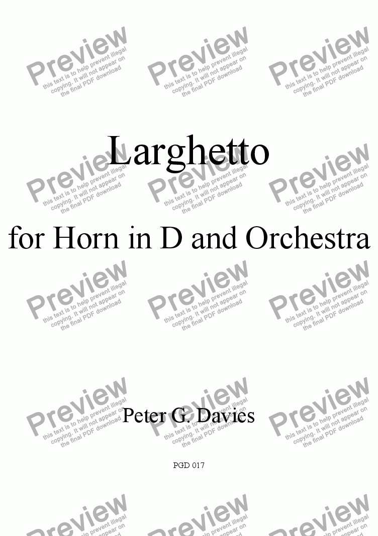 page one of Larghetto for Horn in D (or F) and Piano