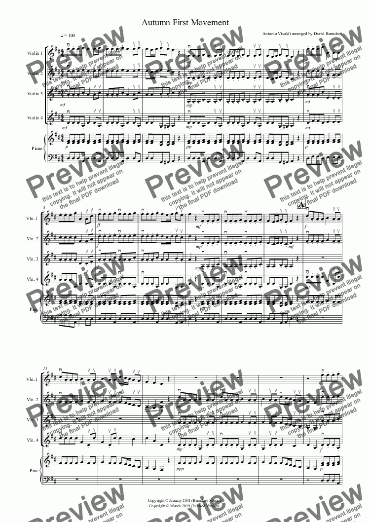"page one of Autumn ""Four Seasons"" For Violin Quartet"