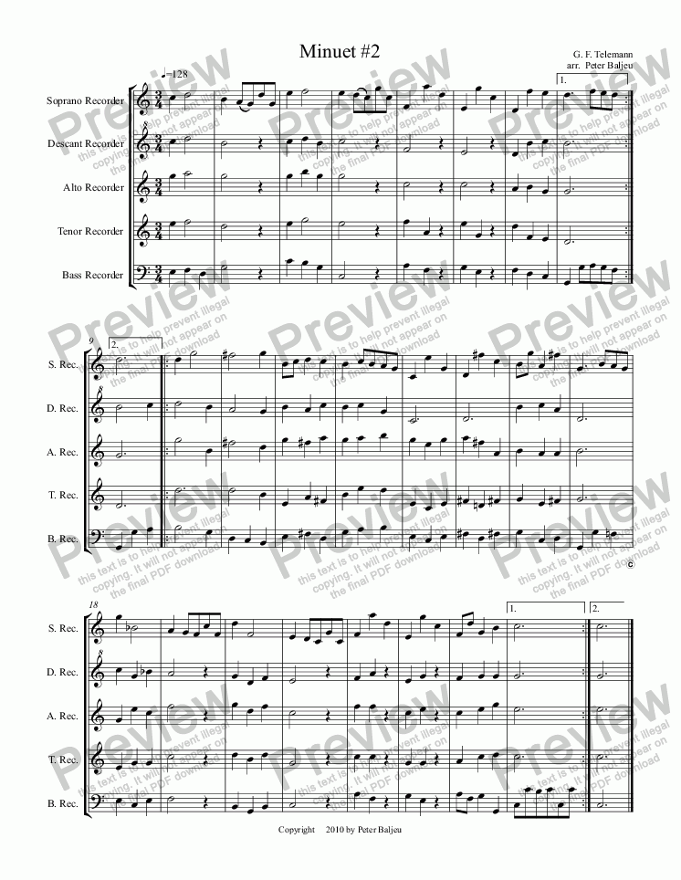 page one of Minuet 02 (SSATB recorders)
