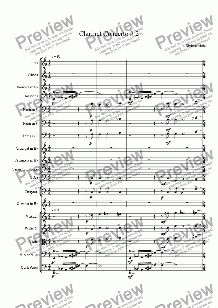 page one of Clarinet Concerto No.2