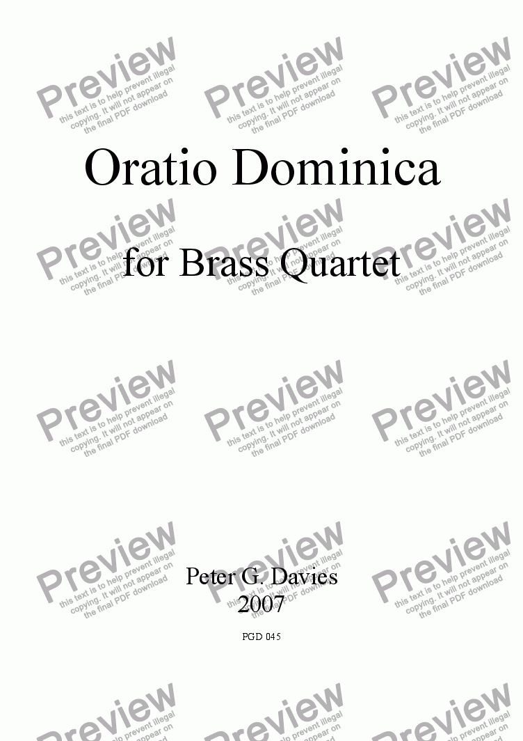 page one of Oratio Dominica for Brass Quartet