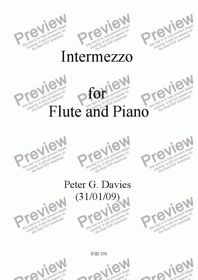 page one of Intermezzo for Flute and Piano