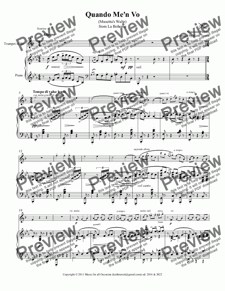 page one of Quando me'n vo (Musetta's waltz) for Bb Trumpet & Piano