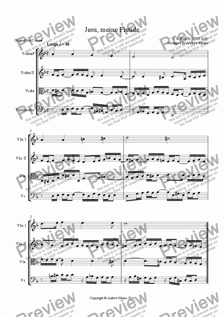 page one of 'Jesu, meine Freude' (BWV 610) arranged for String Quartet