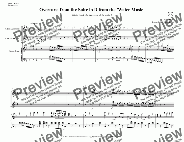 page one of Overture from The Suite in D for two Eb Alto Saxophones & Keyboard