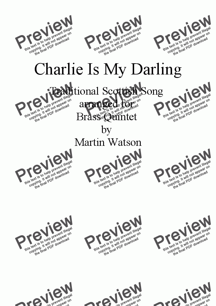 page one of Charlie Is My Darling for Brass Quintet