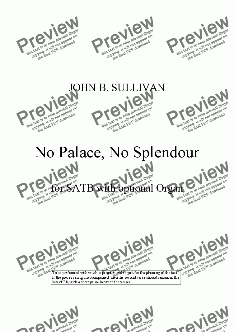 page one of No Palace, No Splendour