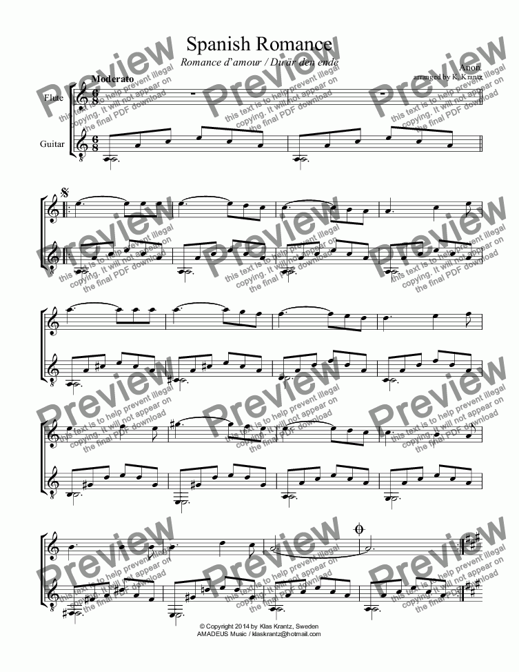 page one of Spanish Romance / Romance anónimo for flute and easy guitar