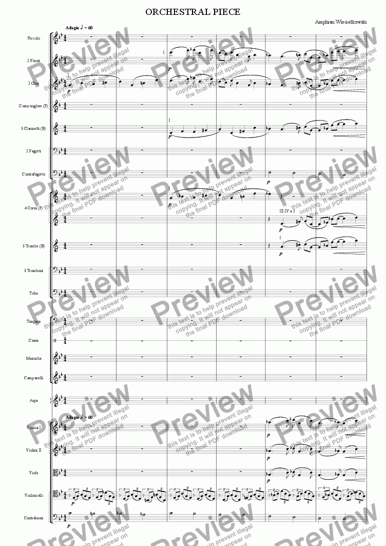page one of Orchestral Piece