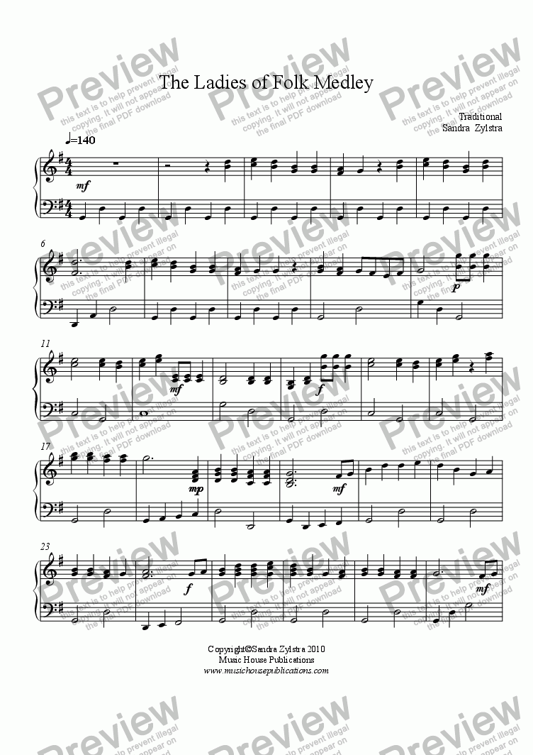 page one of The Ladies of Folk (beginning piano)