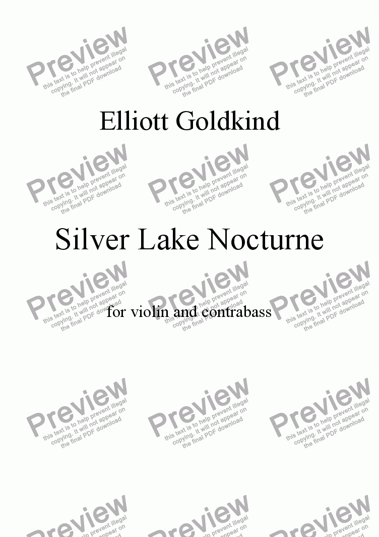 page one of Silver Lake Nocturne, for violin and contrabass