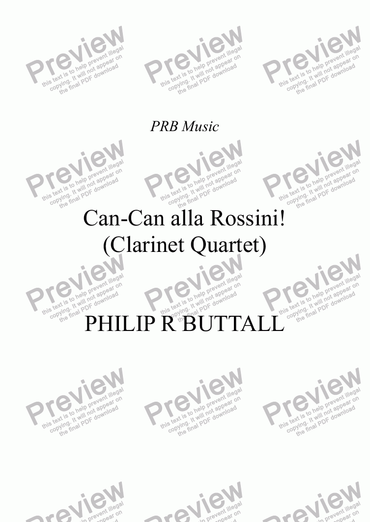 page one of Can-Can alla Rossini! (Clarinet Quartet)