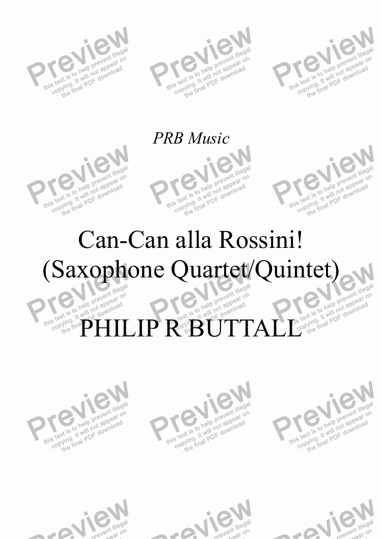 page one of Can-Can alla Rossini! (Saxophone Quartet / Quintet)