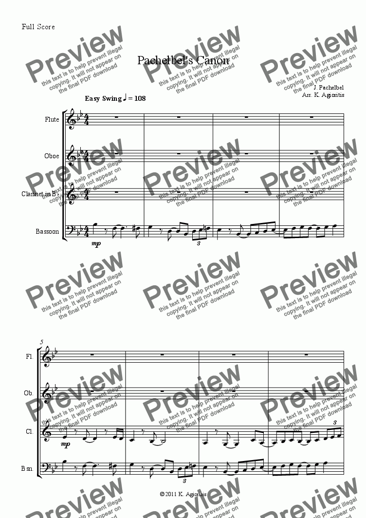 Pachelbel's Canon - a Jazz Arrangement for Woodwind Quartet for Wind  quartet by Johann Pachelbel - Sheet Music PDF file to download