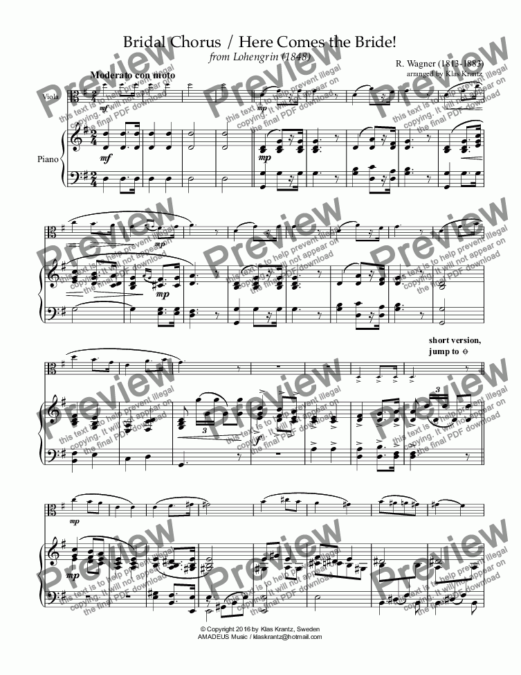page one of Bridal Chorus from Lohengrin - Here Comes the Bride! for viola and easy piano