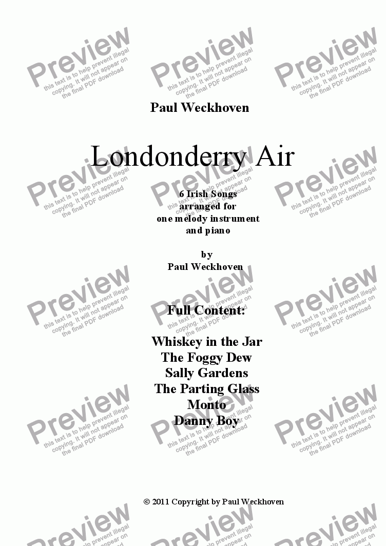page one of Londonderry Air - 6 arrangements for recorder and piano