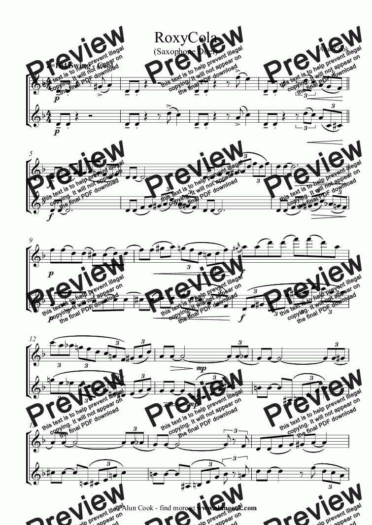 page one of RoxyCola (Saxophone Duet)