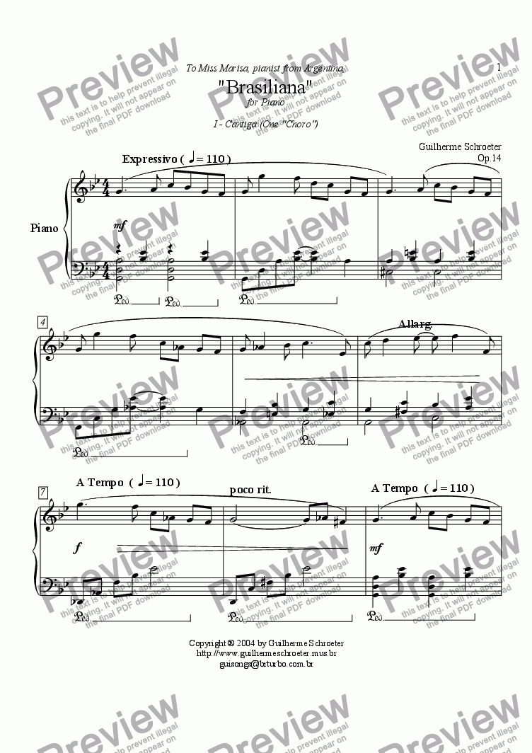 page one of Op.014 - Brasiliana for Piano