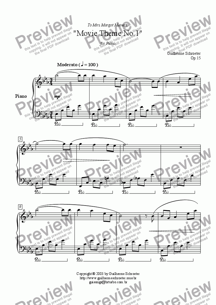 page one of Op.015 - Movie Theme for Piano No.1 (Eb Major)
