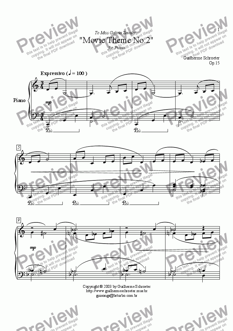 page one of Op.015 - Movie Theme for Piano No.2 (C Major)