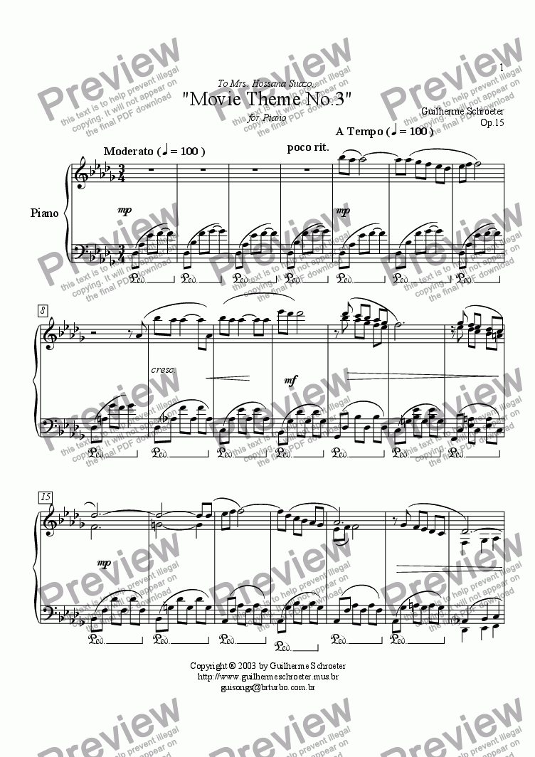 page one of Op.015 - Movie Theme for Piano No.3 (Db Major)