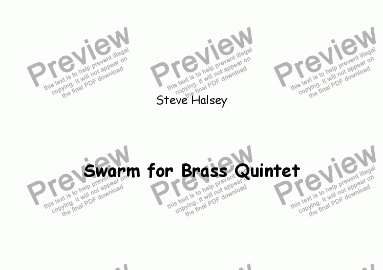 page one of Swarm for Brass Quintet