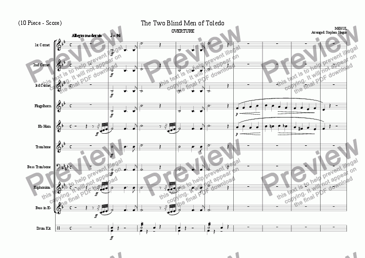 page one of Overture - Two Blind Men of Toledo