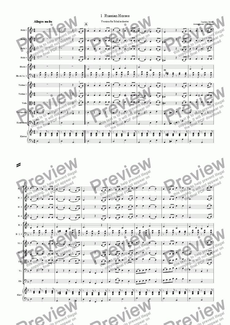 page one of My School Orchestra (01 Russian Horses Arr. I. Boumans for large Orchestra)