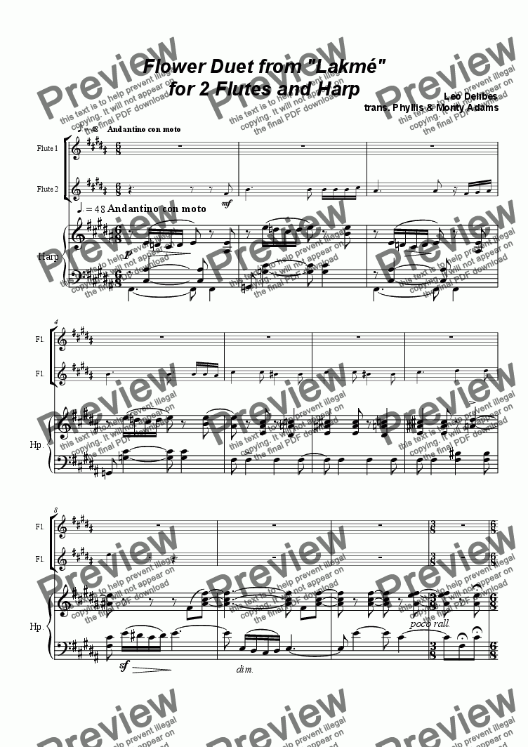 page one of Flower Duet from Lakme for 2 Futes & Harp