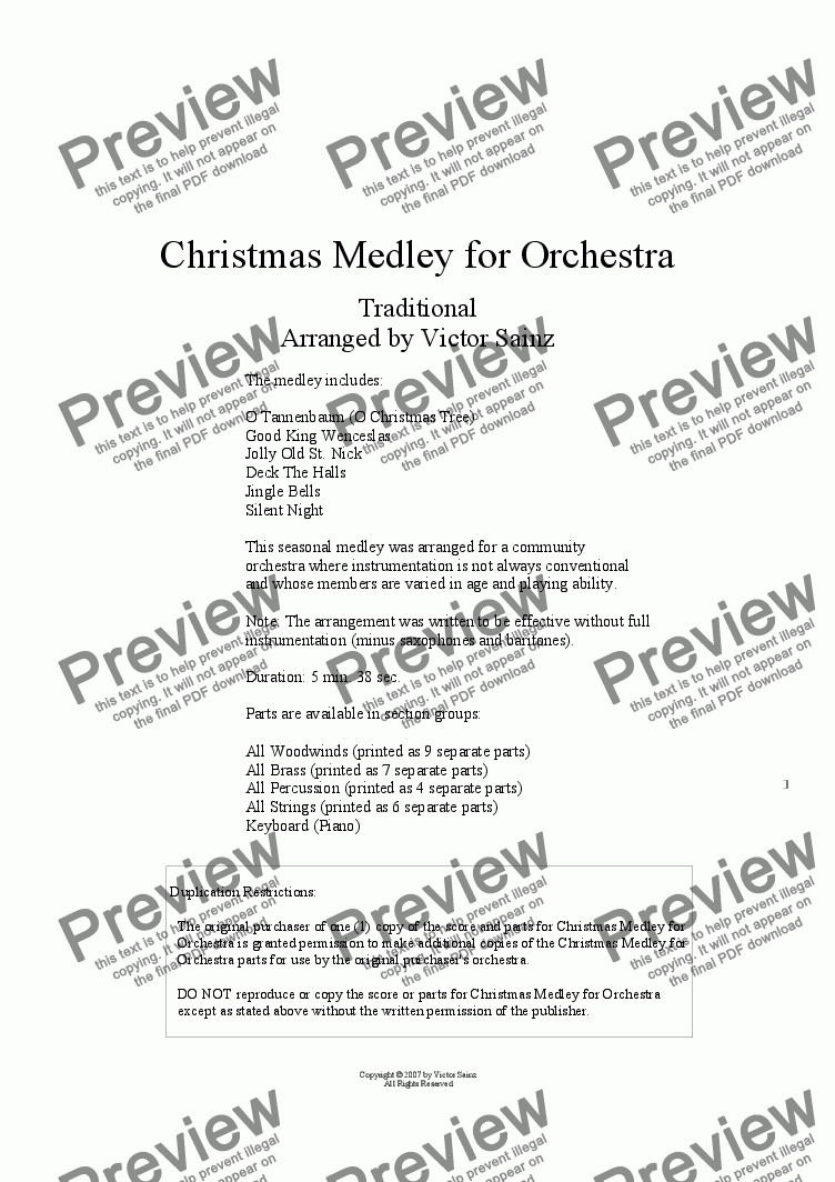 page one of Christmas Medley for Orchestra