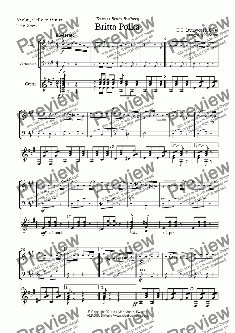 page one of Britta Polka for violin, cello and guitar