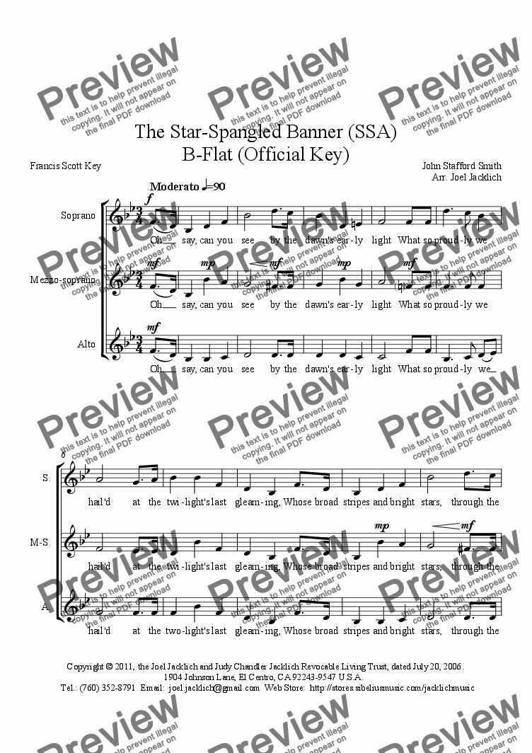The Star Spangled Banner Bb Ssa Download Sheet Music Pdf File