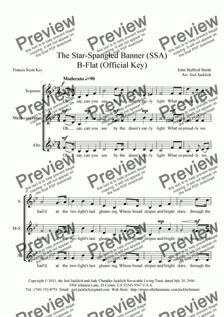 The Star Spangled Banner Bb SSA – Star Spangled Banner Worksheet
